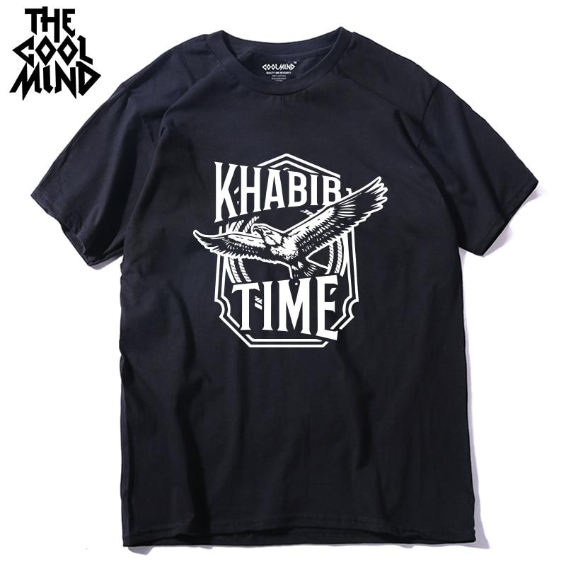COOLMIND 100% Cotton Short Sleeve Khabib Time Men T Shirt Casual Summer Men Tshirt  Male Khabib Nurmagomedov T-shirt Tee Shirts