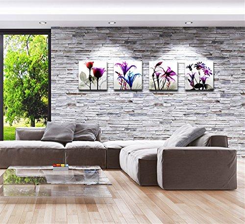 4 stücke Flicking Blumen Bilder Fotodruck auf Leinwand Modulare - Wohnkultur - Foto 4