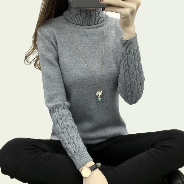 Engrossar Quente Suéteres E Pulôveres de Tricô Para As Mulheres 2017 Primavera Outono Casuais Gola Elástica suéter de Manga Longa Malhas Femininas