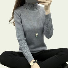 thicken warm knitting sweaters and pullovers for women 2017 spring autumn casual elastic turtleneck long sleeve knitwear