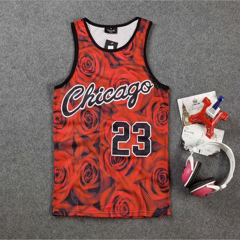 New 2018 men's summer   tank     tops   print rose floral Chicago letters 23 vest fit slim jersey sleeveless tee shirts