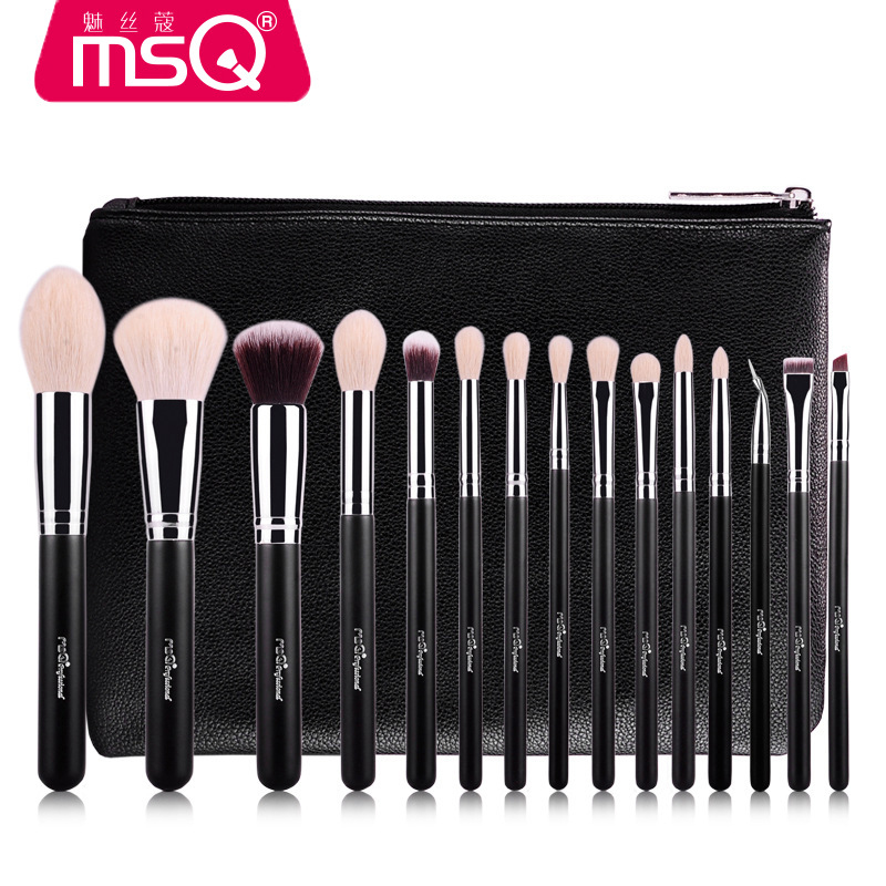 MSQ 15pcs Brush Set Professional Soft Makeup Brushes Foundation Eye Face Cosmetic Make Up Brush Tool Kit +Bag