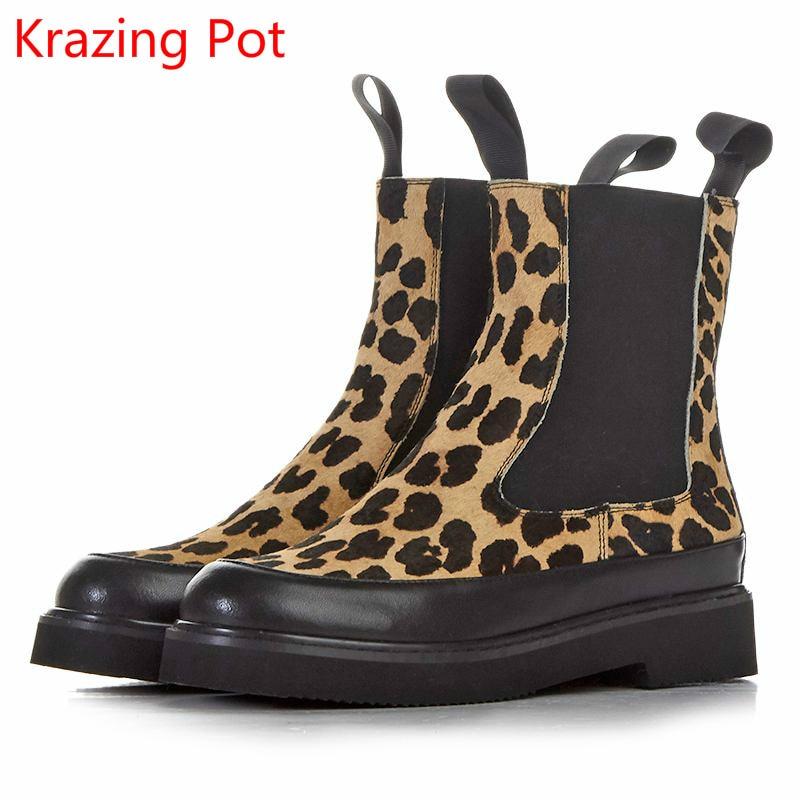 KRAZING POT Fashion Women Winter Brand Shoes Round Toe horse