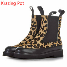 KRAZING POT Fashion Women Winter Brand Shoes Round Toe horsehair Leopard Grain Mid-calf Boots Low-heel Chelsea Platform Boots L
