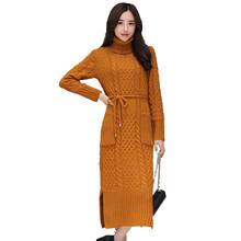 Eelegant трикотажный пуловер Платья-свитеры Осенне-зимняя Дамская обувь Макси длинное платье халат тянуть Свитер с воротником платье vestidos c3779
