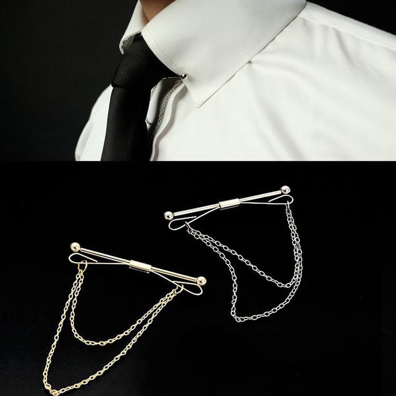 Obn brand gold chain ball head mens tie collar pin brooch for Tie bar collar shirt