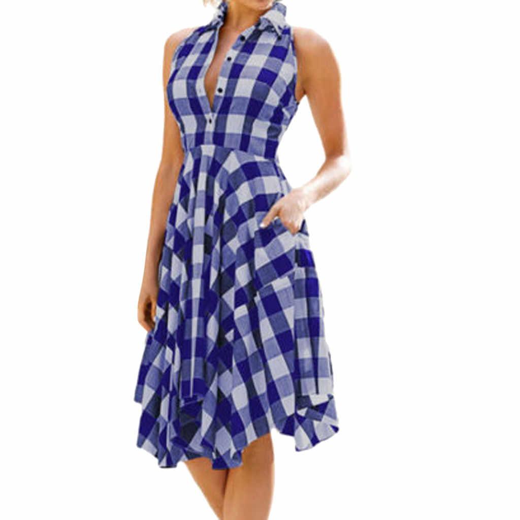 Классическая рубашка в Вертикальную Полоску платье 2018 для отпуска, в богемном стиле Винтаж облегающее платье без рукавов, в клетку, на молнии и асимметричным подолом Вечеринка платье #8