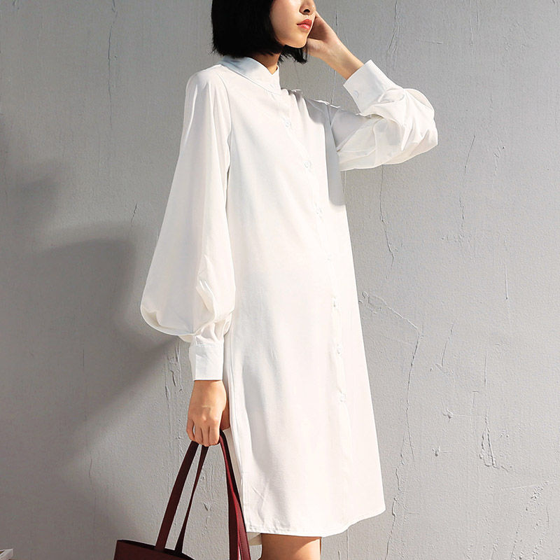 Spring Lantern Sleeve Chiffon Shirt Women Plus Size Womens Tops And Blouses Stand Collar White Blouse Women Long Shirts C5185