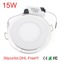 New arriver 30pcs/lot 15W LED Panel Light Ultra Slim LED Ceiling Downlight with driver AC85 265V Warm White/Cold White + Bule
