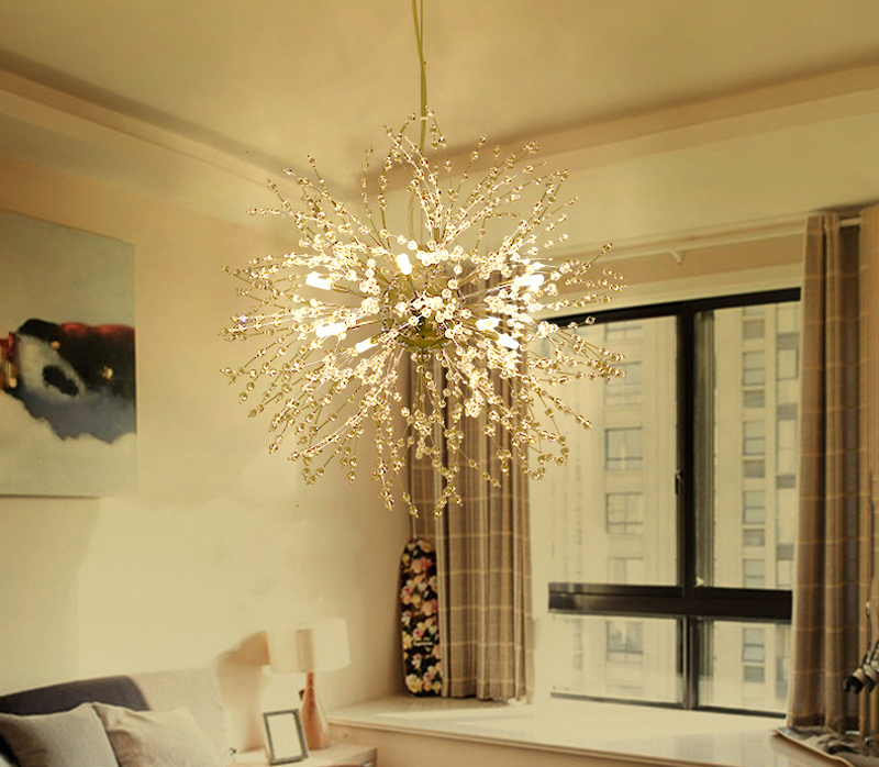 Nordic 110V-240V Crystal Dandelion Pendant Lamp Personalized Luxury Romantic Pendant Lights Creative Chandelier For Living Room Restaurant (5)