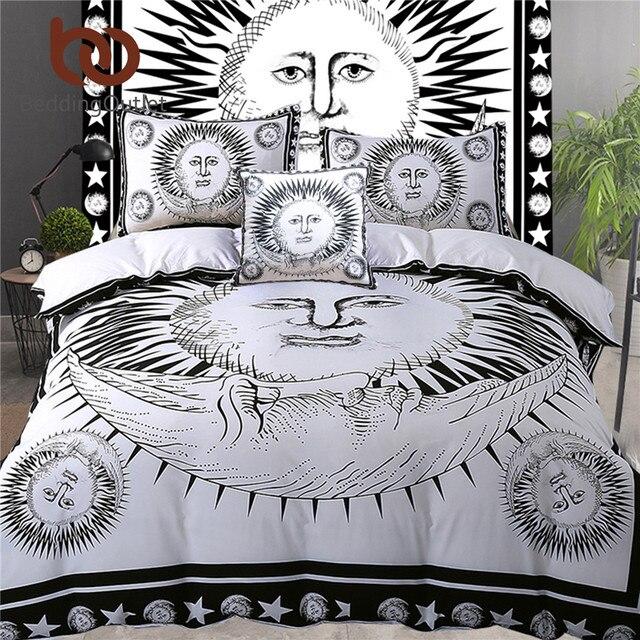 beddingoutlet 5 pcs lit dans un sac soleil dieu ensemble de literie noir et blanc motif
