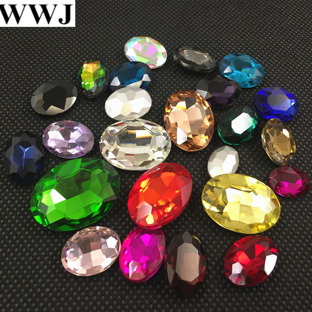 All Sizes Colors Oval fancy stone pointed back 4x6mm~30x40mm Glass Crystal Jewelry beads bracelet,necklace,brooch making