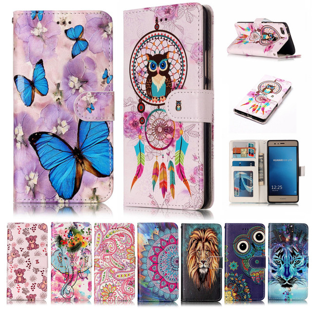 Huawei P9 Lite G9 P9 Mini VNS-L21 Case Relief Painting Wallet Flip Leather Case Cover for Huawei P9 Lite G9 VNS-L21 VNS-L31 5.2""