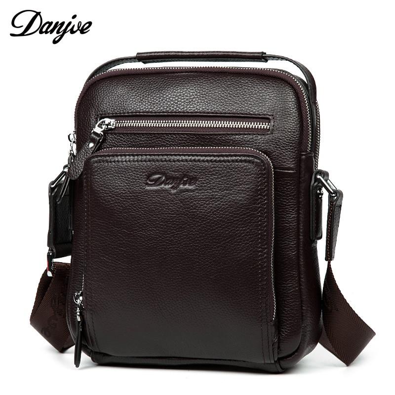 DANJUE High Quality Genuine Leather Men's Messenger Bags Cow Skin Shoulder Bag Designer Crossbody Bag Real Leather Bag For Lpad