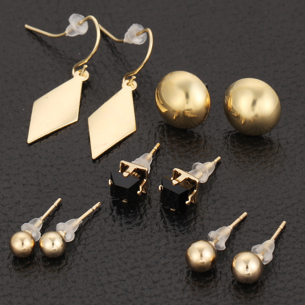 5 Pairs Sets Round Square Ball Alloy Crystal Stud Earrings For Women Cute  Earring Sets Boucle D'oreille For Party Girl