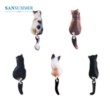 SANSUMMER Cute Animal Earrings Stereo Cartoon Cat Stickers Personality Exquisite Girl Fashion Accessories 5882