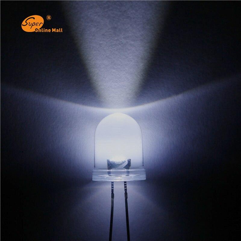 1000PCS LED 10mm LED White DIODE Round Emitting Diodes Ultra Bright Super Bright 30000MCD  10MM LED Lamp Light Bulb DIY