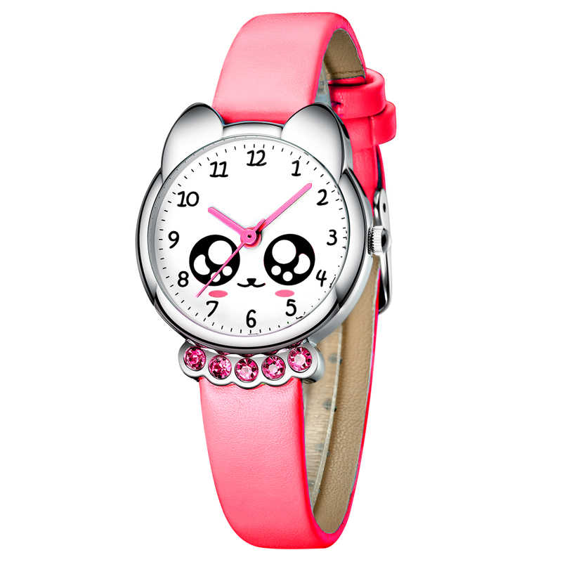 KDM Girl Watch Kids Cute Fox Bling Diamond Waterproof Genuine Leather Watches Lovely Kid Children Wristwatch Students Clock