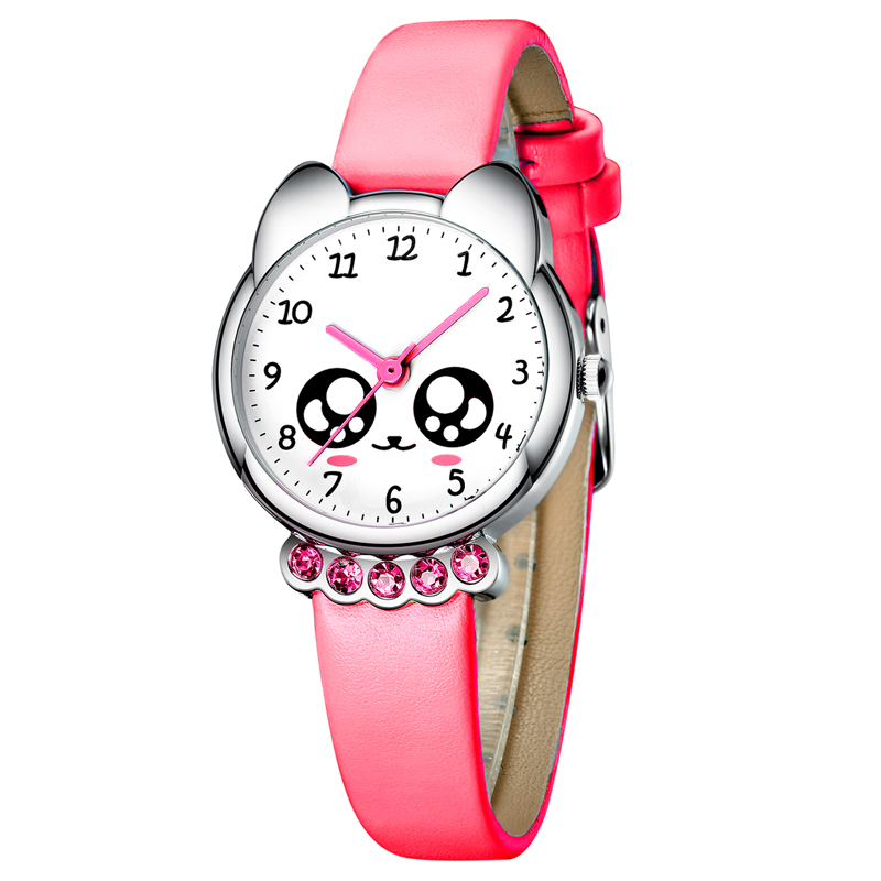 KDM Girl Watch Kids Cute Fox Bling Diamond Waterproof Genuine Leather Watches Lovely Kid Children Wristwatch Students Clock