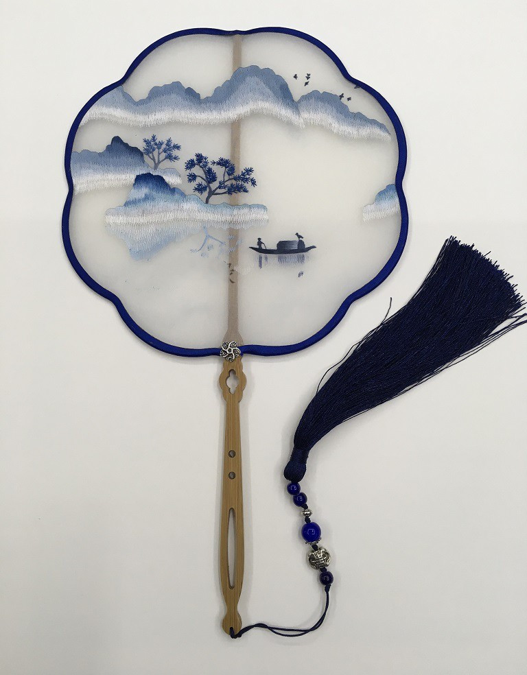 Handmade Double side Embroidery Chinese Hand Fan Decoration Natural Mulberry Silk Fan Dance Bamboo Handle Women Fan Gift in Decorative Fans from Home Garden
