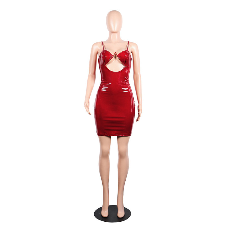 78ac93c7331 PU leather ladies sexy mini dress spaghetti strap party night club cut out  black red short bodycon dresses new clubwear vestidos-in Dresses from  Women s ...