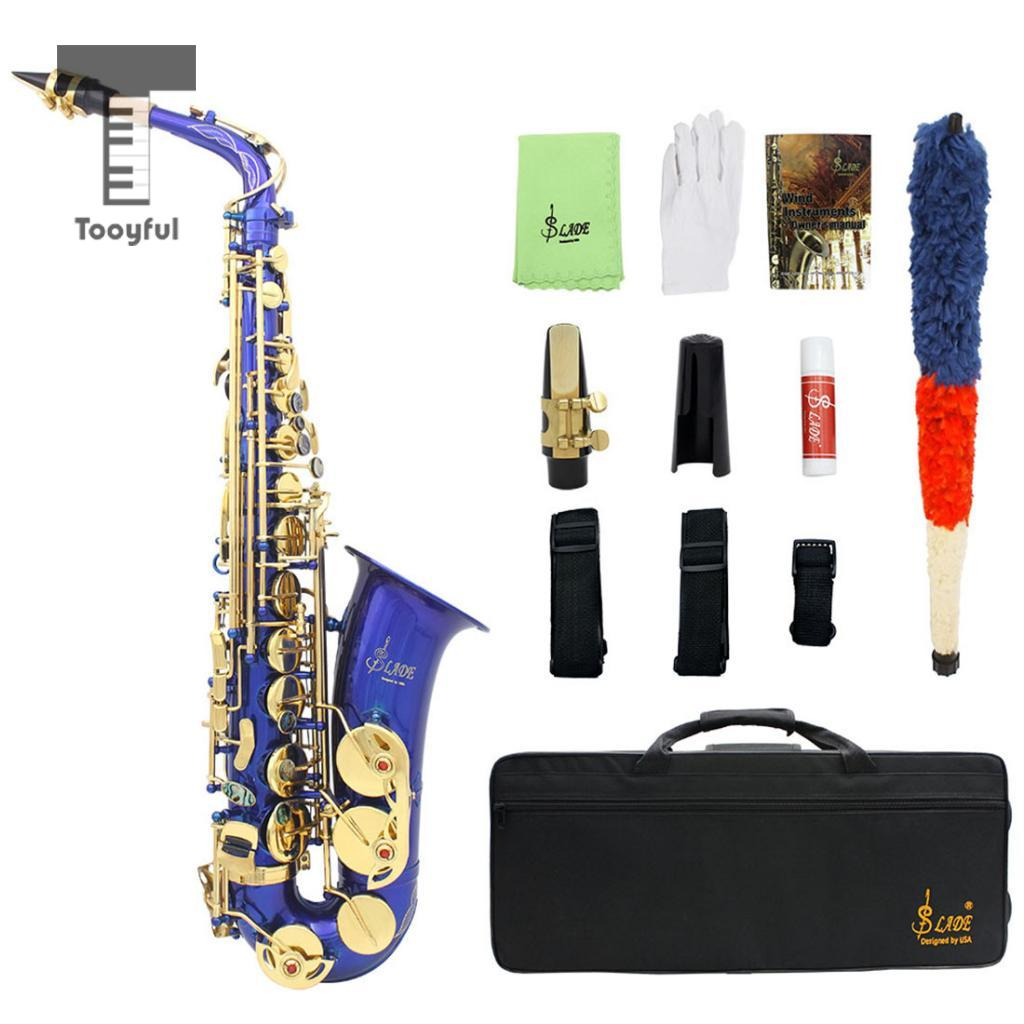Tooyful Professional Brass Eb Alto Saxophone Sax Shell Key Inlay Button with Storage Case Mouthpiece Straps Gloves professional rose gold alto sax eb saxophone abalone shell key with case