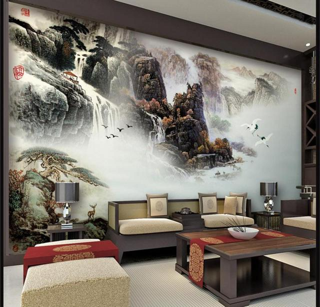 Free Shipping Chinese Style Hotel Dining Room Sofa Decorative Wall Painting  Modern Living Room Wallpaper Mural
