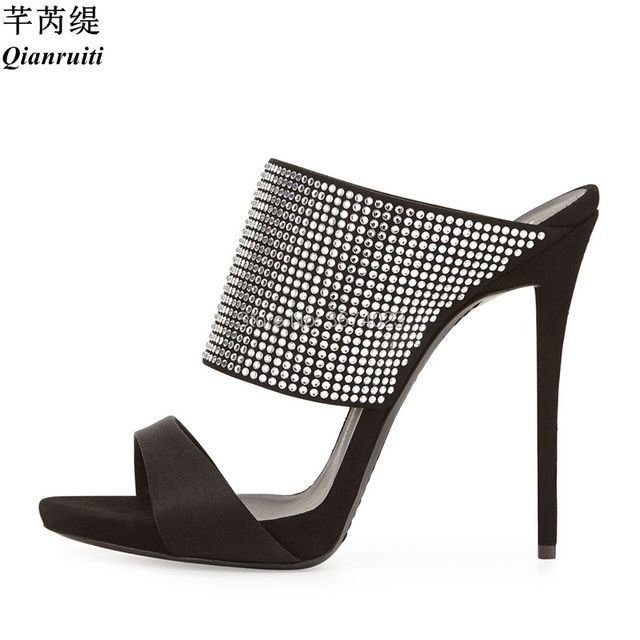 229a349e0e24b Qianruiti Mujer Crystal Heels Gold Silver Sandals Snakeskin High Heels Open  Toe Slingbacks Slippers Women Metallic Mules