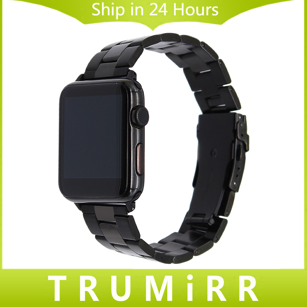 Stainless Steel Watchband for 38mm 42mm iWatch Apple Watch Band Safety Buckle Wrist Strap Link Bracelet + Quick Release Adapters stainless steel watchband with adapter tool for iwatch apple watch 38mm 42mm safety buckle band link strap wrist belt bracelet