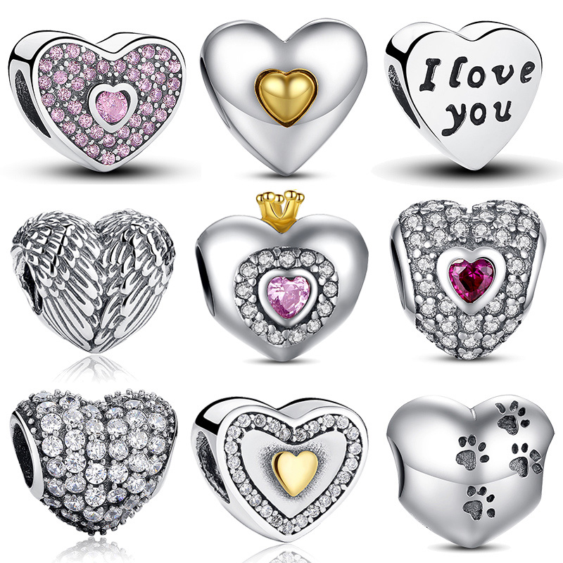 1f5644b0751e9 100% Authentic 925 Sterling Silver Heart Shape Charm Beads Fit pandora  Charm Bracelet DIY Original Silver Jewelry-in Beads from Jewelry    Accessories on ...
