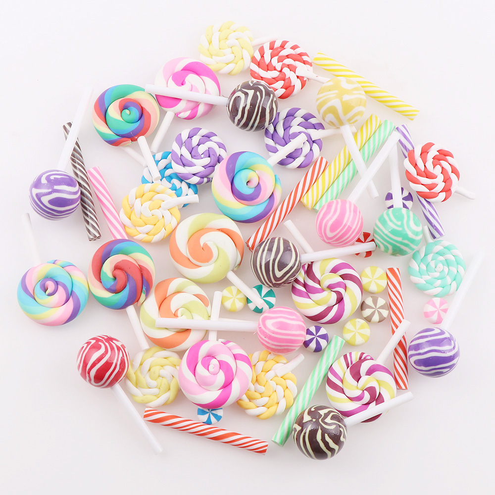 50PC Mix Polymer Clay Candy 5 Style Rainbow Lollipop Christmas Tree Decor Hanging Ornament For New Year Xmas Party Kids Gift
