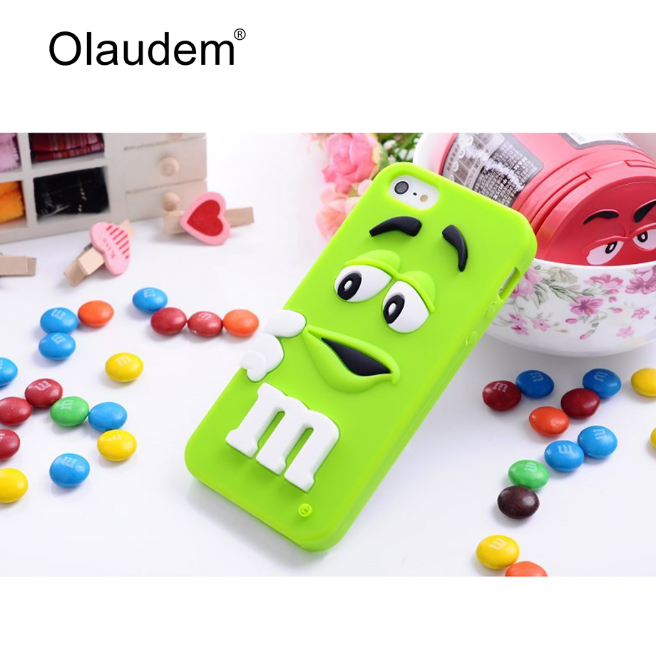 iPhone 6 6S Plus Case Cute M&M's Rubber Silicone Cartoon Mobile Phone Cases Cover Cellphone Celular M-Bean - OLAUDEM Official Store store