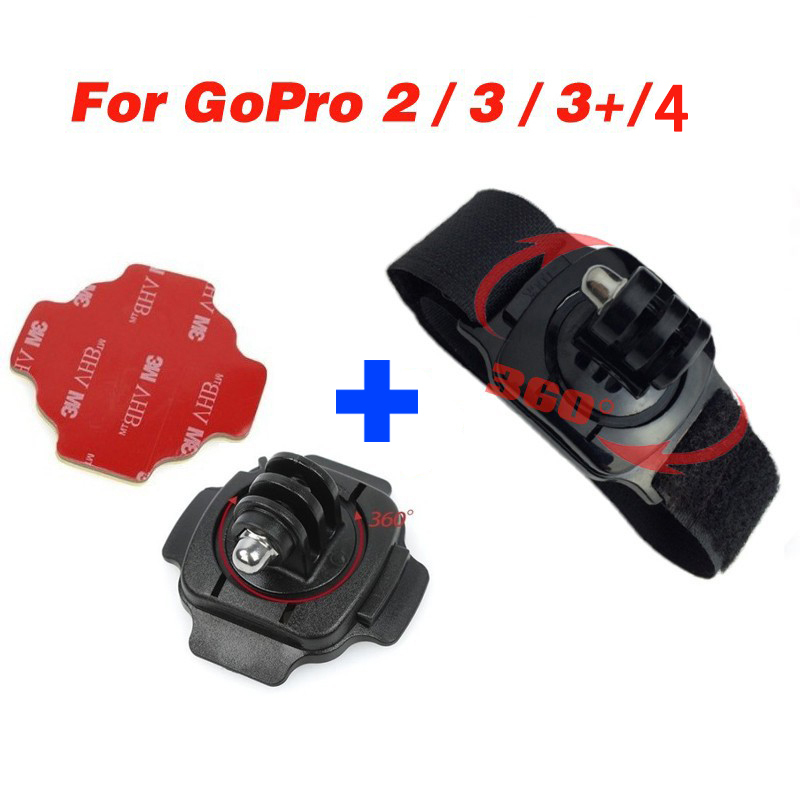 Go pro mount camera tripod 360 Degree tripod Mount for Gopro hero 4 session 3 3+ 2 sjcam sj5000 sj4000 and for helmet surface