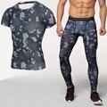 Nuevo camuflaje camisa de manga corta camiseta + de las polainas de compresión crossfit gimnasio conjuntos de secado rápido marca clothing s-3xl