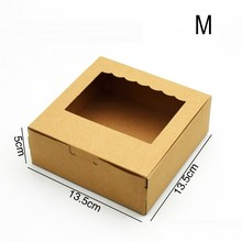 500 PCS Kraft Paper Gift Box Brown Wedding Party Favors Handicrafts Cosmetics Window Cake Packaging Candy Sweety