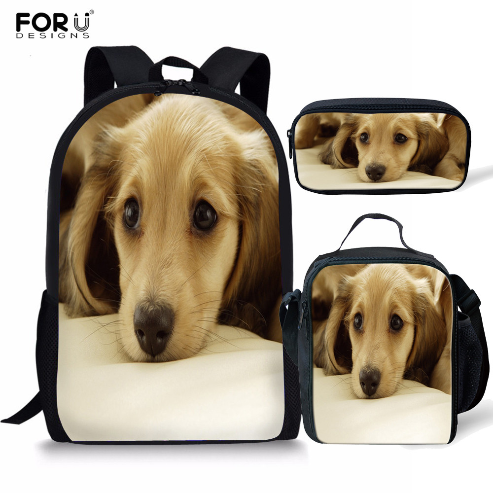 FORUDESIGNS 3pcs/set Companion Dog Pattern School Bags For Girls Orthopedic Schoolbag Primary Children Bookbag Pencil Case Child