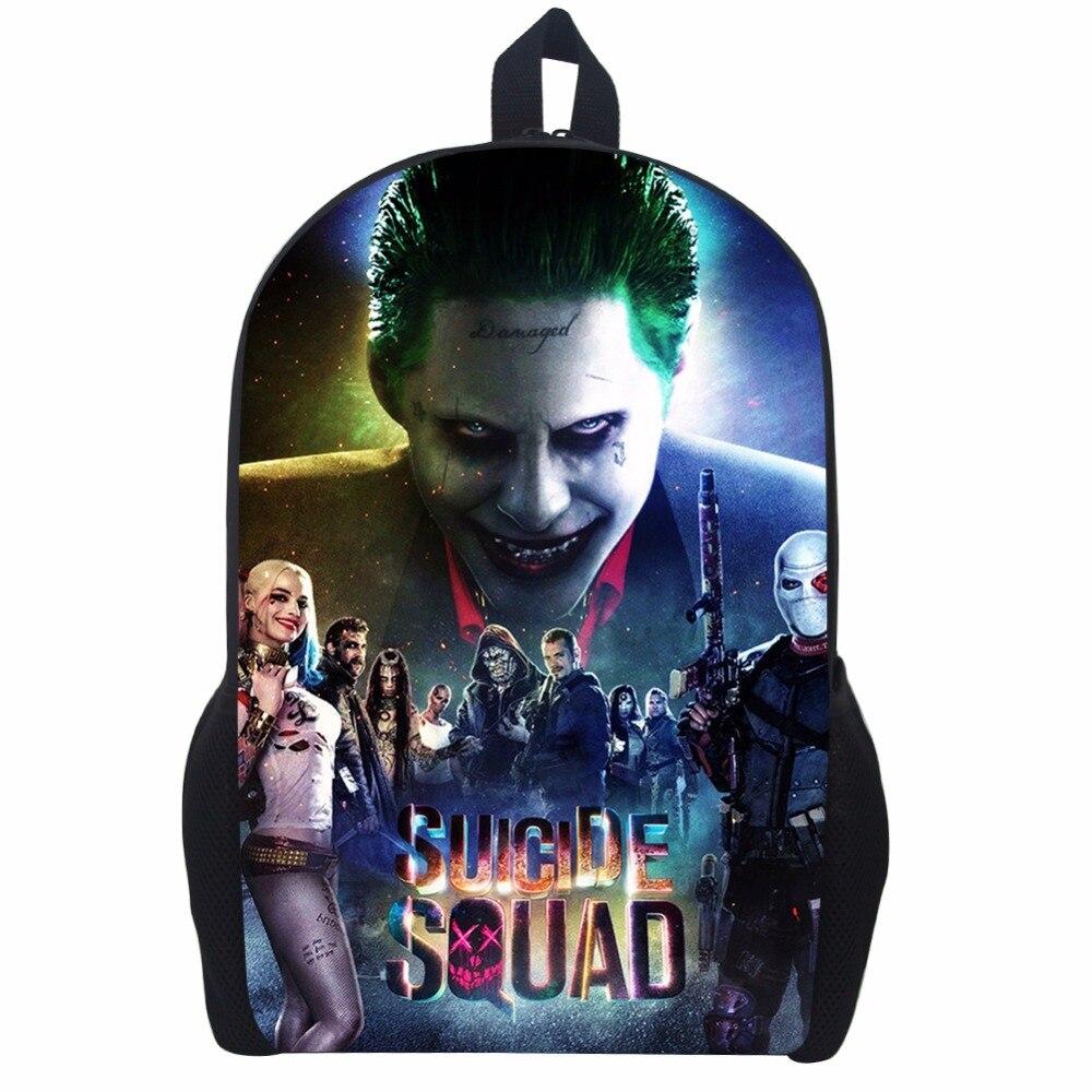 17 Inch Suicide Squad Backpack For Teenager Children Harley Quinn Joker School Bags Mens Women Shoulder Bag #6