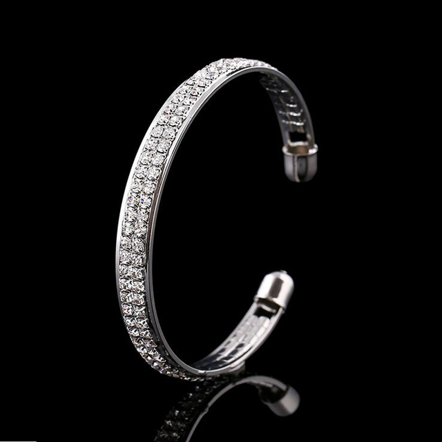 1 Piece Women Lady Golden/Silvery Crystal Cuff Charm Bangel pulseiras para as mulheres love bileklik New Jewelry Party 4