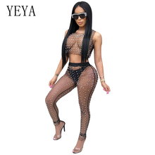 YEYA Sexy Black Mesh Beading Rompers Womens Jumpsuit O-Neck Sleeveless See Through Night Club Party Jumpsuits Two Piece Overalls