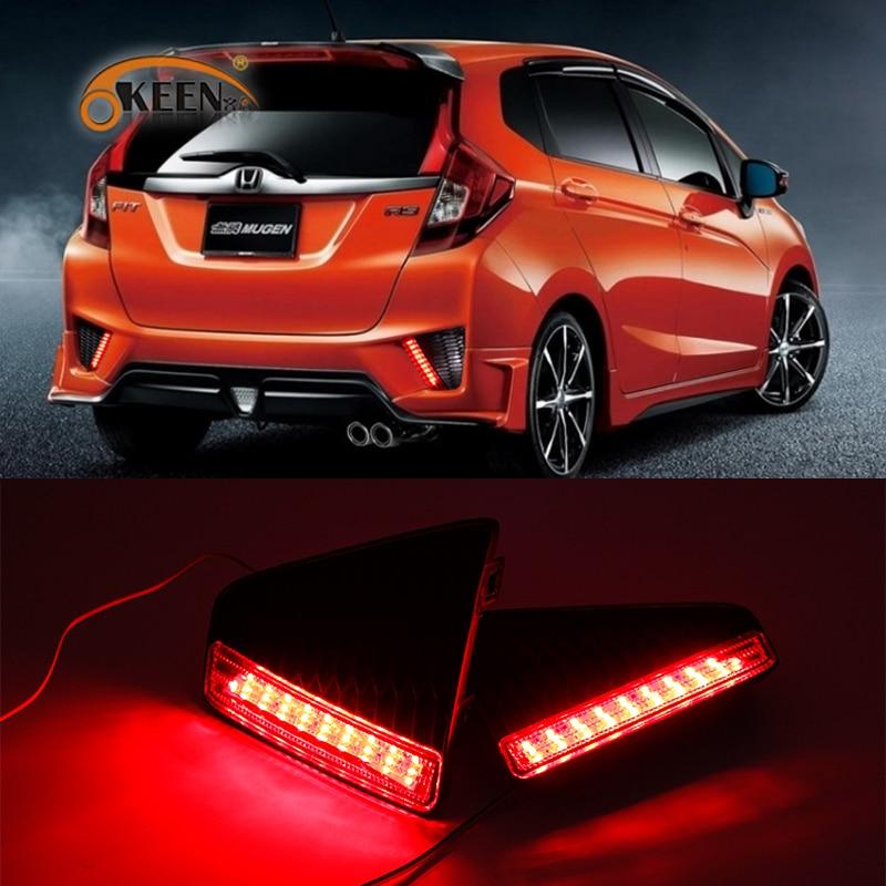 OKEEN 2x Red LED Rear Bumper Reflector Brake Light For