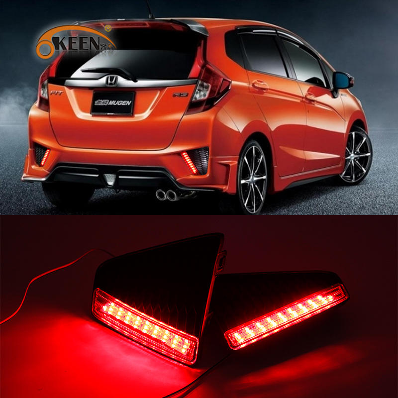 OKEEN 2x Red LED Rear Bumper Reflector Brake Light for <font><b>Honda</b></font> JAZZ <font><b>FIT</b></font> 2014 <font><b>2015</b></font> <font><b>2016</b></font> 2017 Fog Light Waterproof DRL Drive Lights image