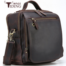 men handbags crazy horse leather  2018 new business man travel fashion big capacity brand  brown crossbody shoulder bags male