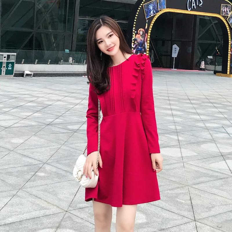 Rode Jurk Met Mouwen.Goede Koop Hot Herfst Winter Elegante Mode Rode Jurk Lange Mouw