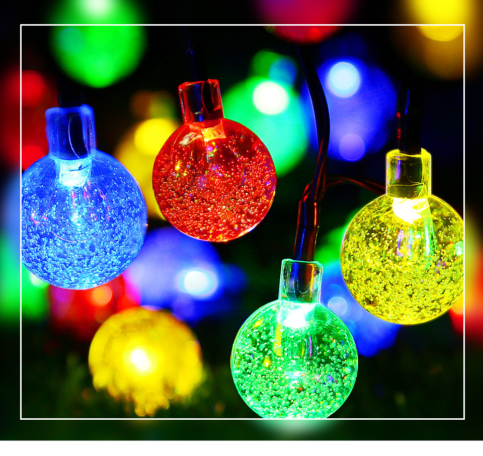 Solar LED String Lights Garland Outdoor 3050 LED Ball Hollow Christmas Trees Garden Party Decor String Fairy Light Ball Chain (1)