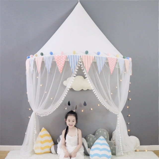 Baby Bed Canopy Kids Play Tent Tipi Tente Enfant Crib Mosquito Netting  Nursery Decor Teepees For