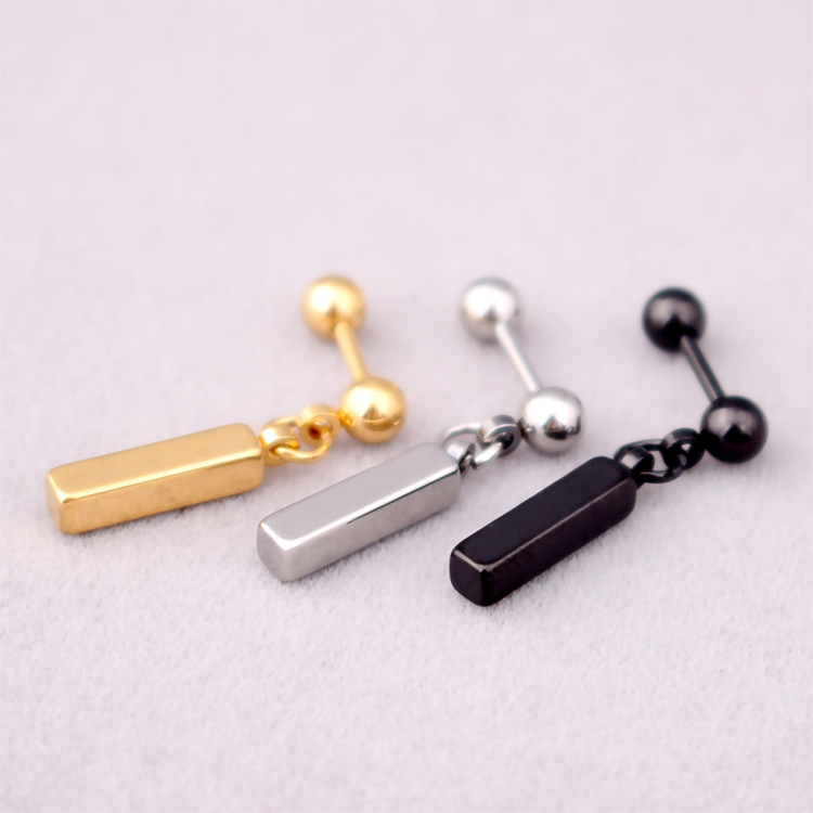 Steel Black Barbell Circle Stud Earrings with Dangling Black Rectangle and Gold Square Men Women