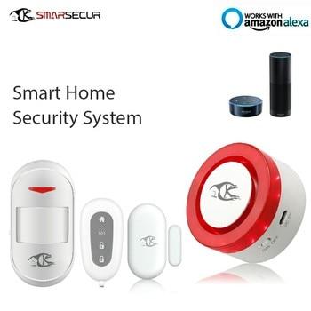 WiFI Shine Light Siren 1xRemote Control 1xDoor Contact  1xPIR Sensor  For Smart   Home Security System