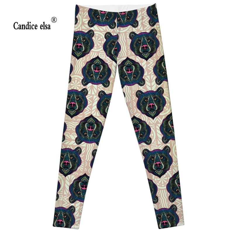 CANDICE ELSA women leggings workout legging fitness female pants elastic bear printed sexy trousers plus size wholesale