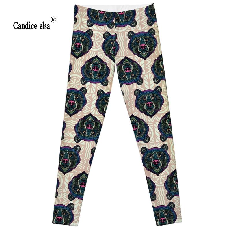 CANDICE ELSA dámské leginy cvičení legging fitness kalhoty elastické medvěd tištěné sexy kalhoty plus velkoobchodní velikost