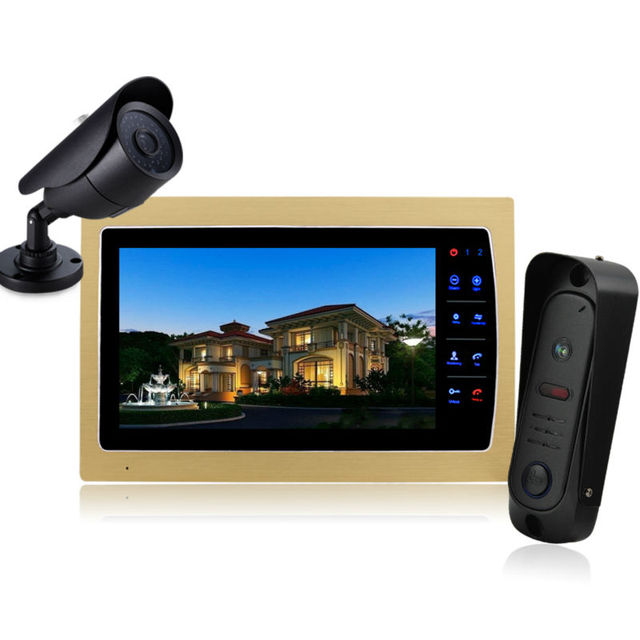 "Homefong Color 10"" TFT LCD Display 4-line Video Door Phone Doorbell Intercom System With High Definition IR Night Vision Camera"